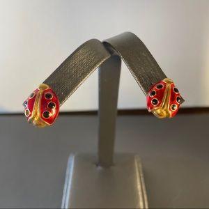 Gold tone Red Enamel Ladybug Figurine Stud Earring